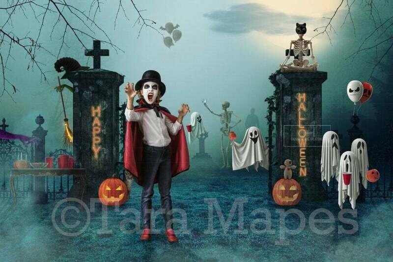 Halloween Graveyard Party - Funny Ghosts Skeletons Pumpkins- Fun Spooky - Kid Friendly Cemetery- Digital Background / Backdrop