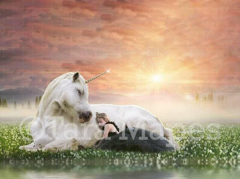 Unicorn by Lake in Magic Field Digital Background