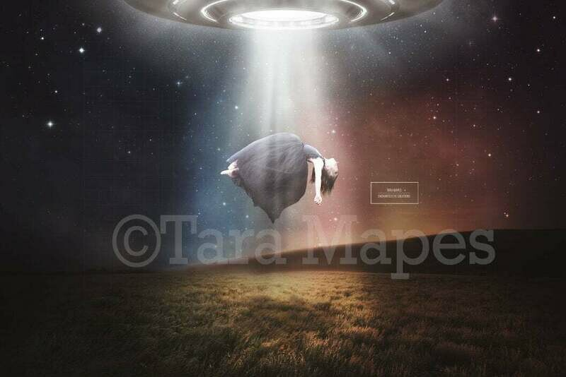 UFO Spaceship in Field Digital Background / Backdrop