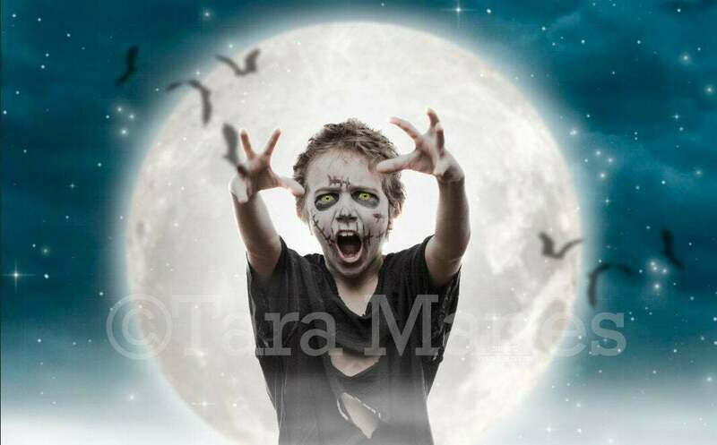 Halloween Moon with Bats - Witch Zombie NIght Halloween Digital Background Backdrop