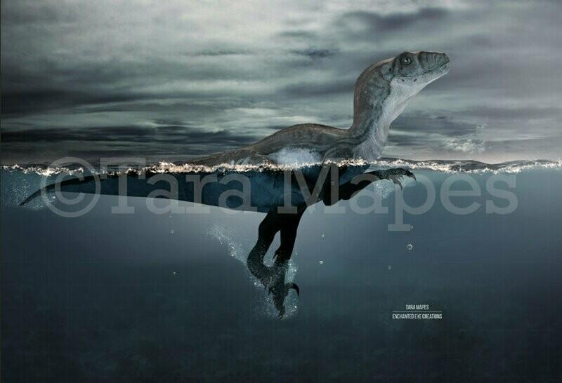 Swimming Dinosaur Digital Background Backdrop