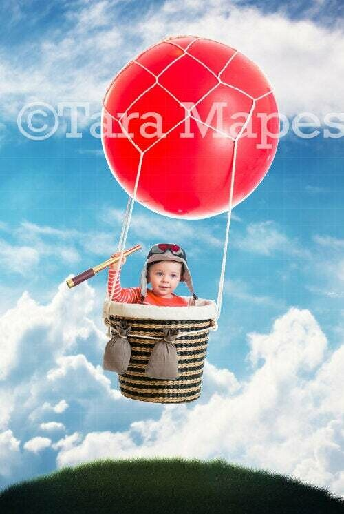 Small  Hot Air Balloon Digital Background / Backdrop