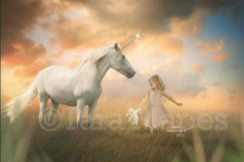 Unicorn in Creamy Sunny Field- Magical Unicorn in Soft Pastel Scene- Digital Background Backdrop