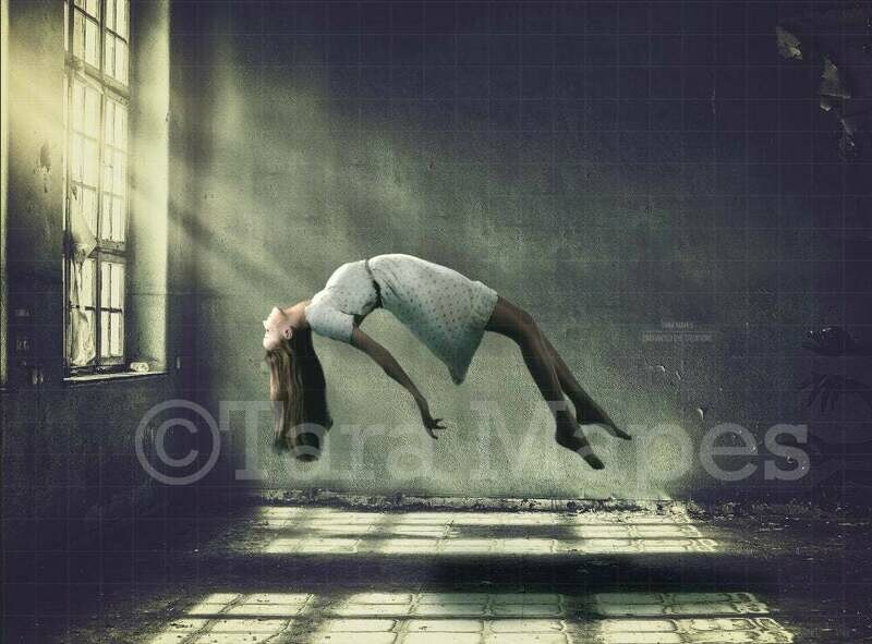 Levitation Scene - Abandoned Building - Window - Halloween Witch Digital Background / Backdrop