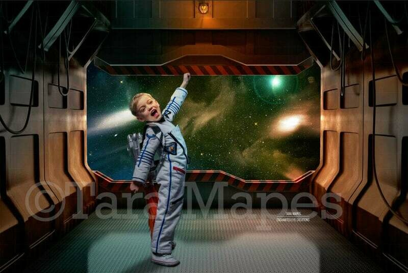 Space Station Rocket Outerspace Digital Background Backdrop