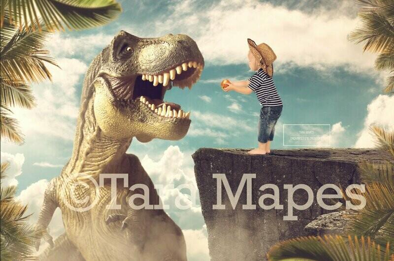 Smiling Dinosaur on a Cliff - Feeding Dinosaur - Digital Background / Backdrop