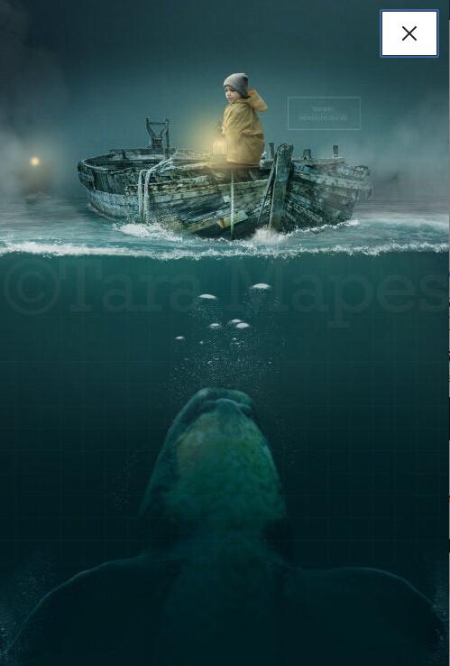 Whale Under Boat on Ocean Digital Background / Backdrop