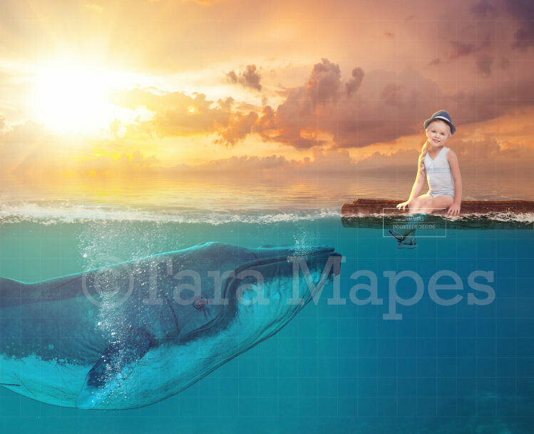 Whale under Wooden Raft Digital Background Backdrop