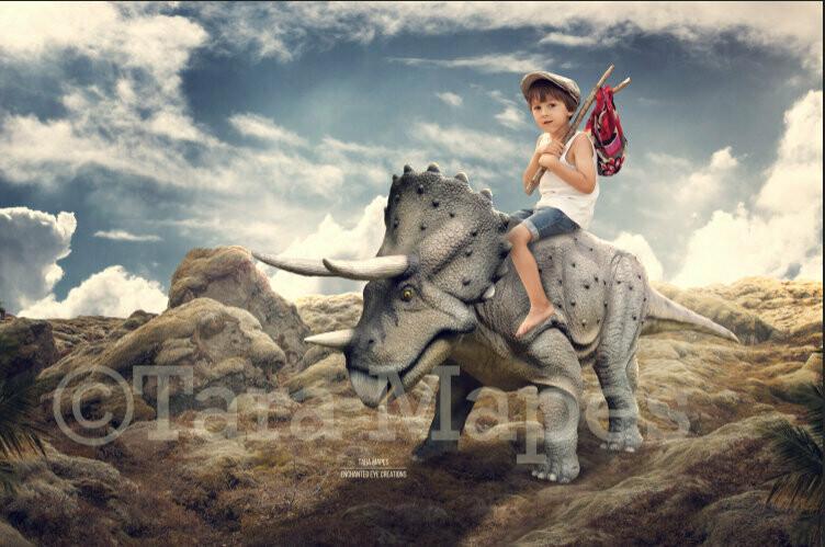 Triceratops Dinosaur -  Riding Dinosaur - Digital Background / Backdrop
