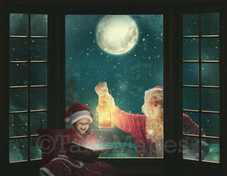 Christmas Window Santa Looking in Window Christmas Window Seat Digital Background Backdrop