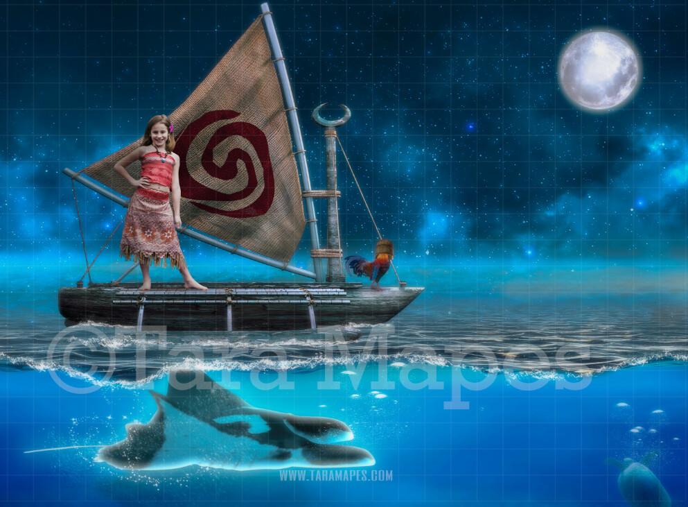 Raft Boat Ocean -  Boat in Ocean - Digital Background Backdrop