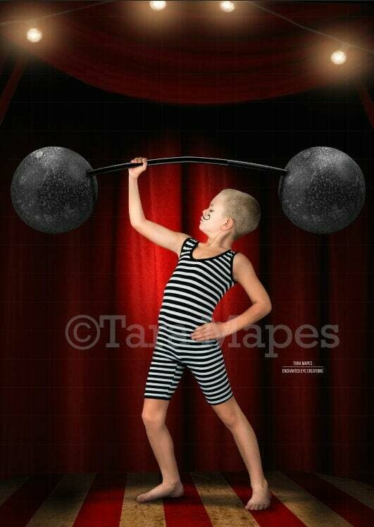 Vintage Circus Strong Man Weight Lifter on Stage with Lights BARBELL PNG Included Digital Background Backdrop