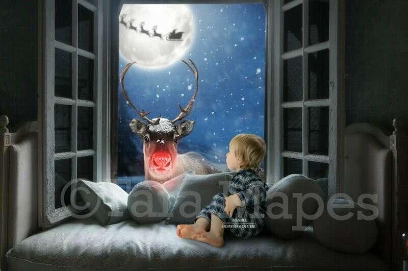 Rudolph Surprised in Christmas Window Holiday Magical Digital Background Backdrop