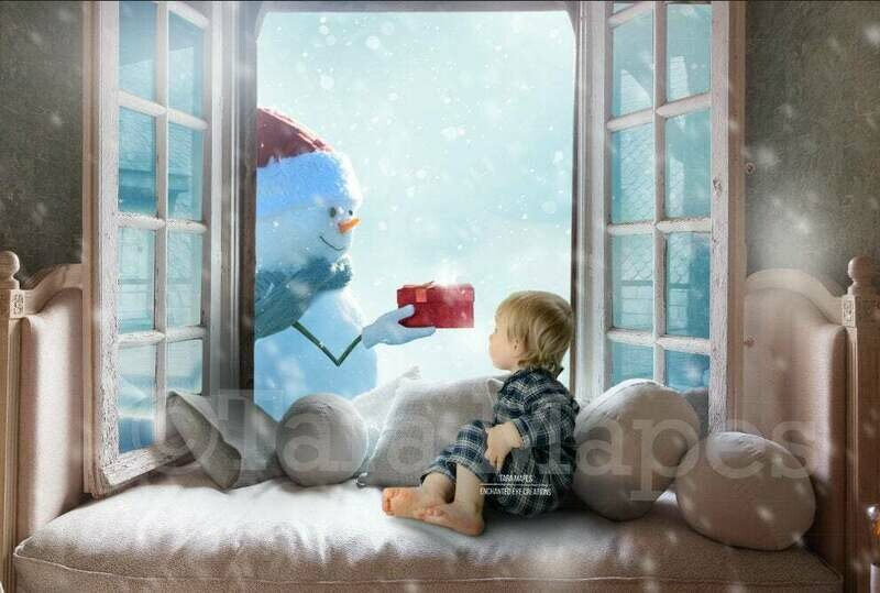 Snowman in Christmas Window with Gift Holiday Magical Digital Background Backdrop