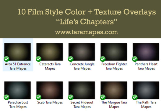"""10 Film Style Overlays - Photoshop Texture - Color Grading """"Life's Chapters"""" -  Photoshop Overlays by Tara Mapes"""