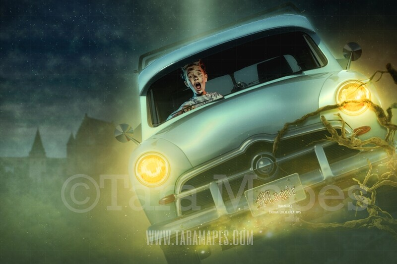 Flying Car Layered PSD File Digital Background Backdrop