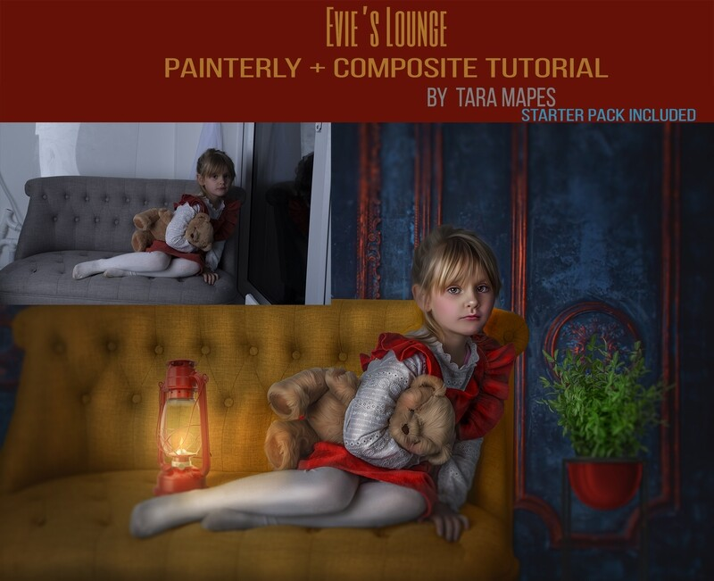 Evie's Lounge Painterly Editing + Compositing Photoshop Tutorial with STARTER PACK- Fine Art Tutorial by Tara Mapes