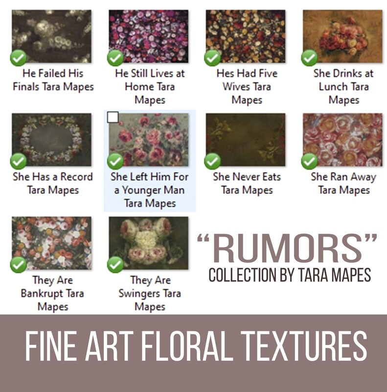 10 Old Masters Floral Textures -Floral Backdrops - Digital Backgrounds - RUMORS Photoshop Overlays by Tara Mapes