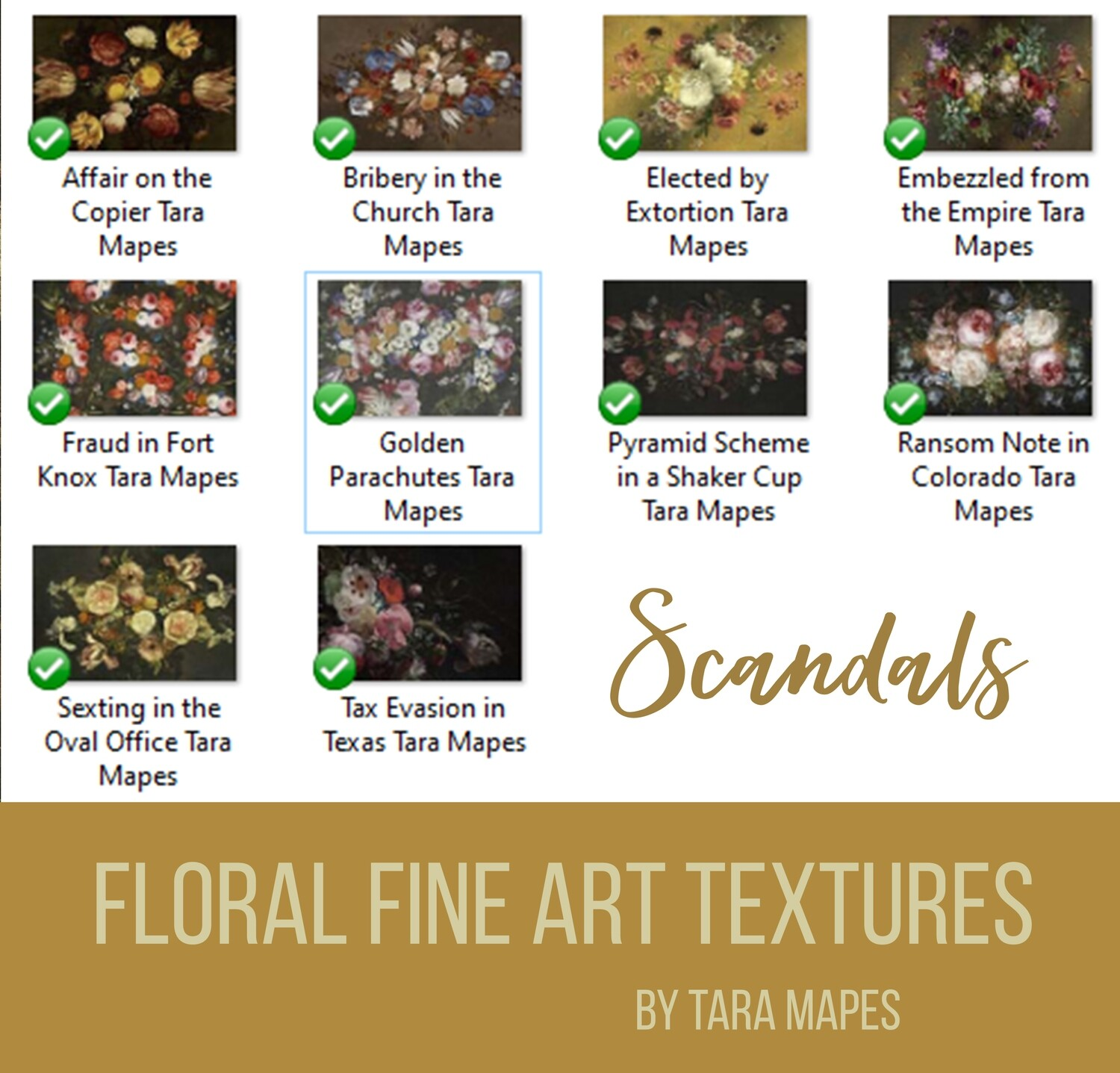 10 Old Masters Floral Textures -Floral Backdrops - Digital Backgrounds - SCANDALS Photoshop Overlays by Tara Mapes