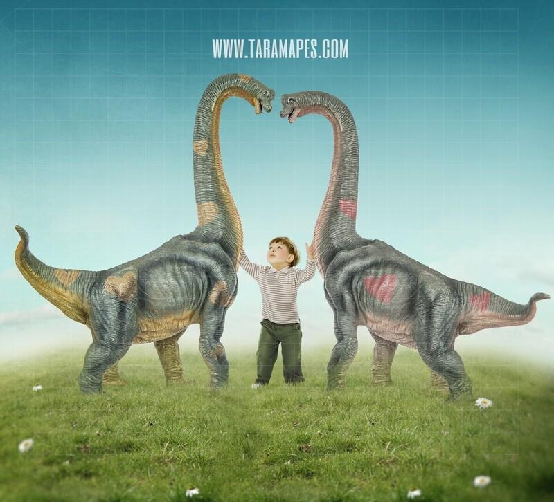 Valentine Dinosaurs - Nice Dinosaurs - Dinosaur Heart -Digital Background / Backdrop