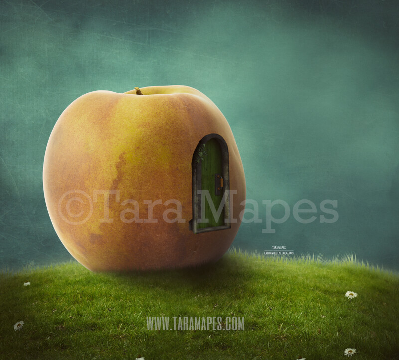Peach House on a Hill -Whimsical Scene - Giant Peach- Digital Background Backdrop