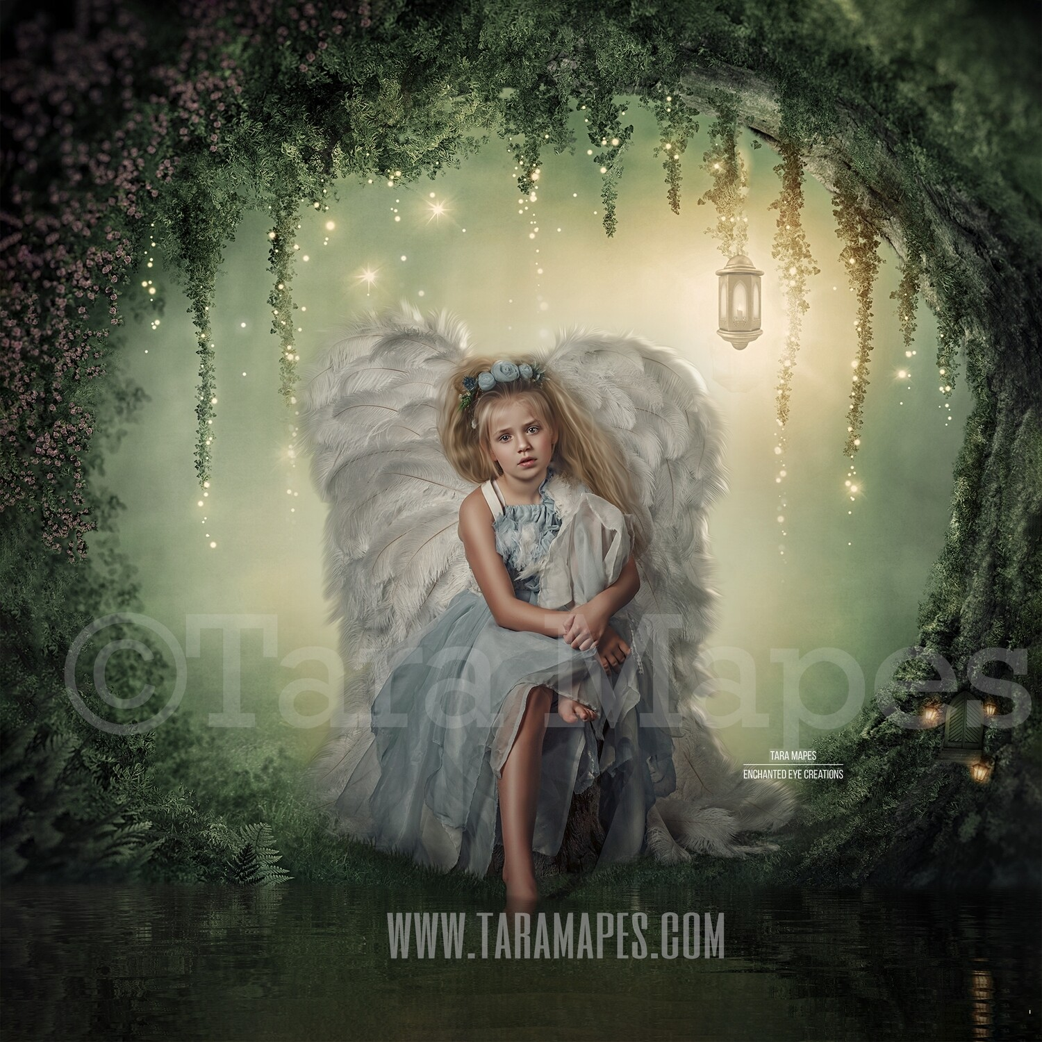 Enchanted Forest - Fairy Tree by Pond - Fairy Arch - Magical Fairy Photoshop Digital Background / Backdrop