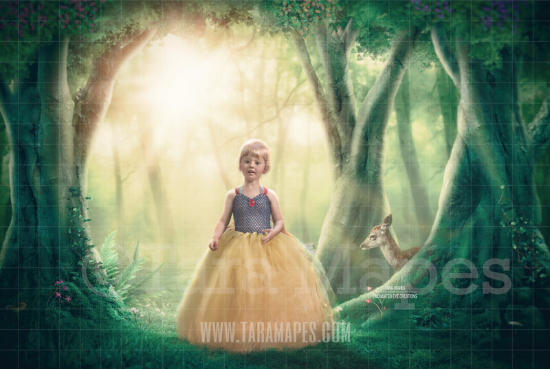 Snow White Forest - Animals in Forest - Animals in Enchanted Forest Digital Background Backdrop
