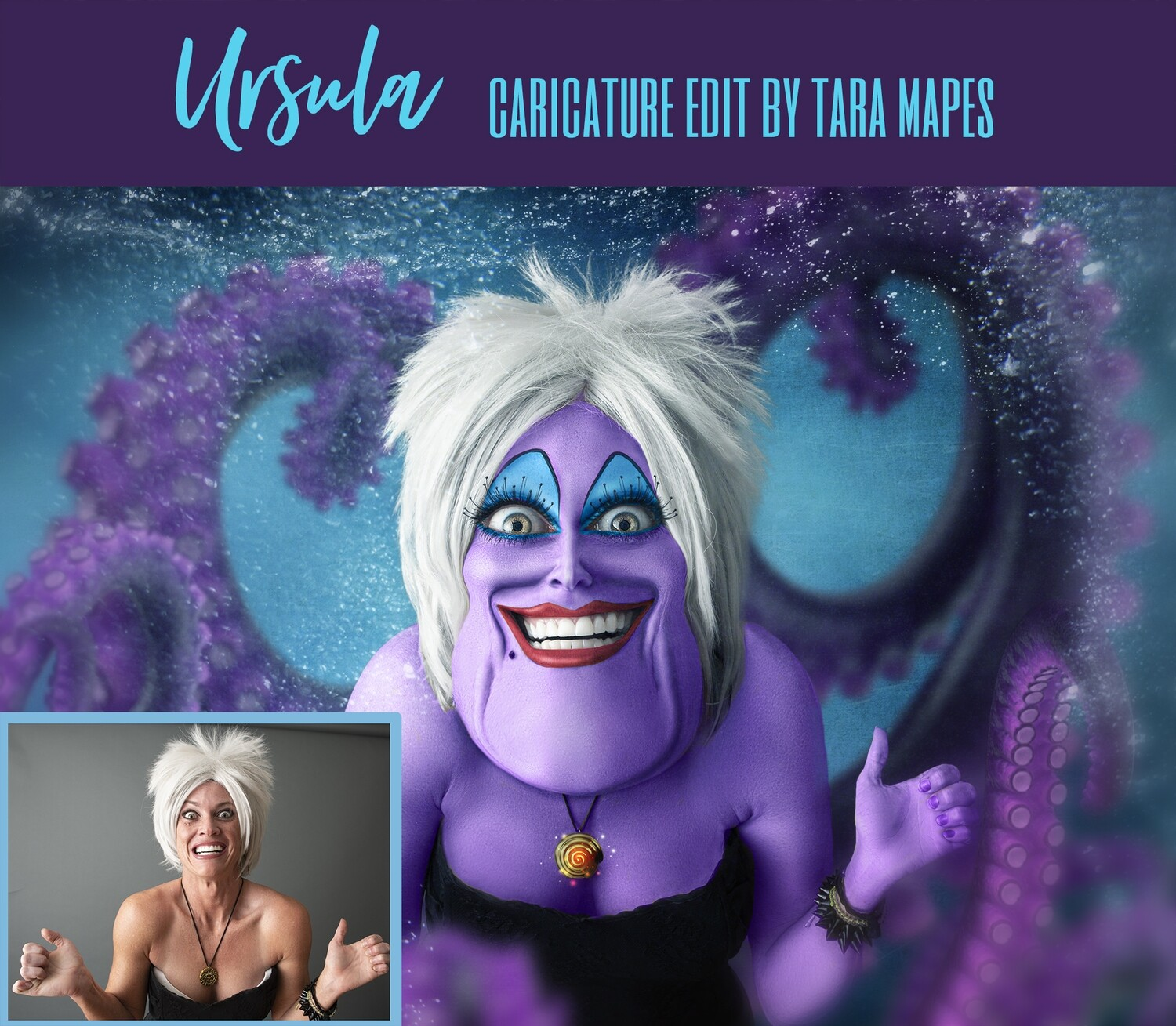 Ursula Caricature Tutorial by Tara Mapes - Photomanipulation Cartoon and Surreal Editing Tutorial