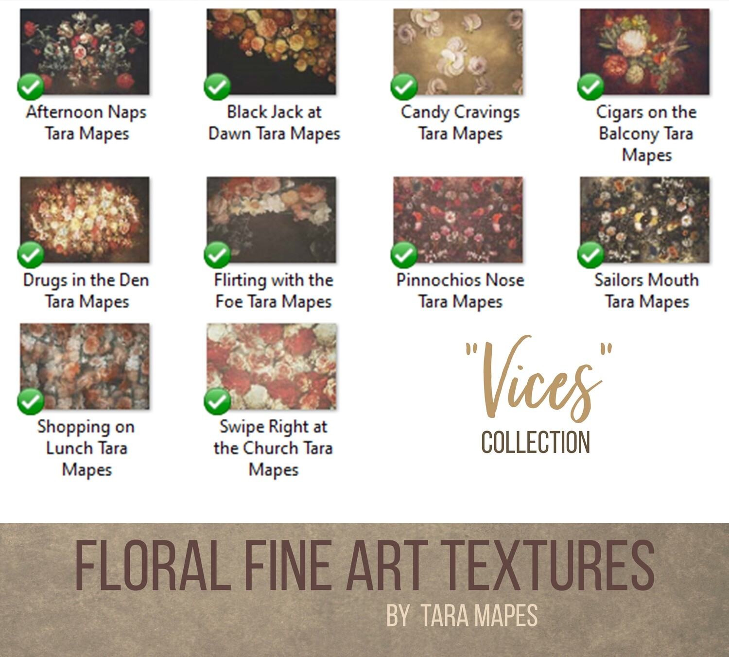 10 Old Masters Floral Textures -Floral Backdrops - Digital Backgrounds - VICES Photoshop Overlays by Tara Mapes