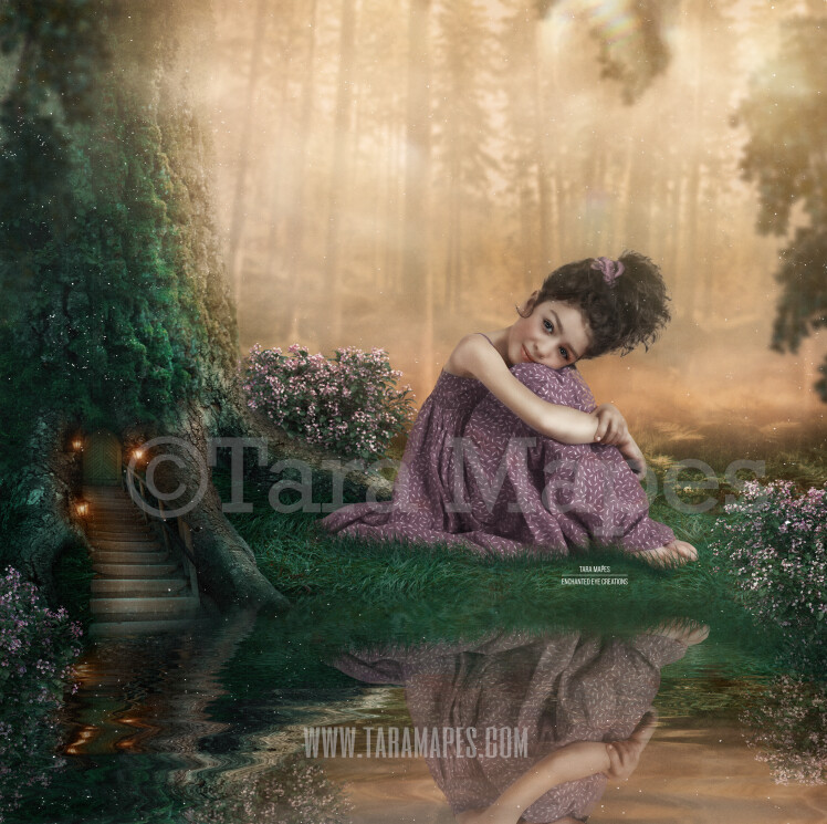 Fairy Tree in Enchanted Forest - Magic Fairy Tree by Pond - Magical Fairy Photoshop Digital Background / Backdrop