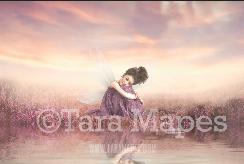 Field by Pond Lake - Magic Fairy Field by Pond - Magical Field Sunset Creamy Photoshop Digital Background / Backdrop