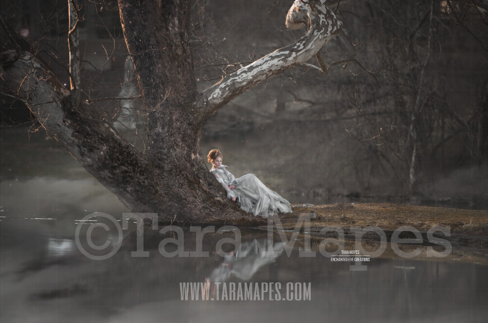 The Wishing Tree - Old Enchanted Tree by Lake - Old Magic Tree by Pond - Digital Background by Tara Mapes