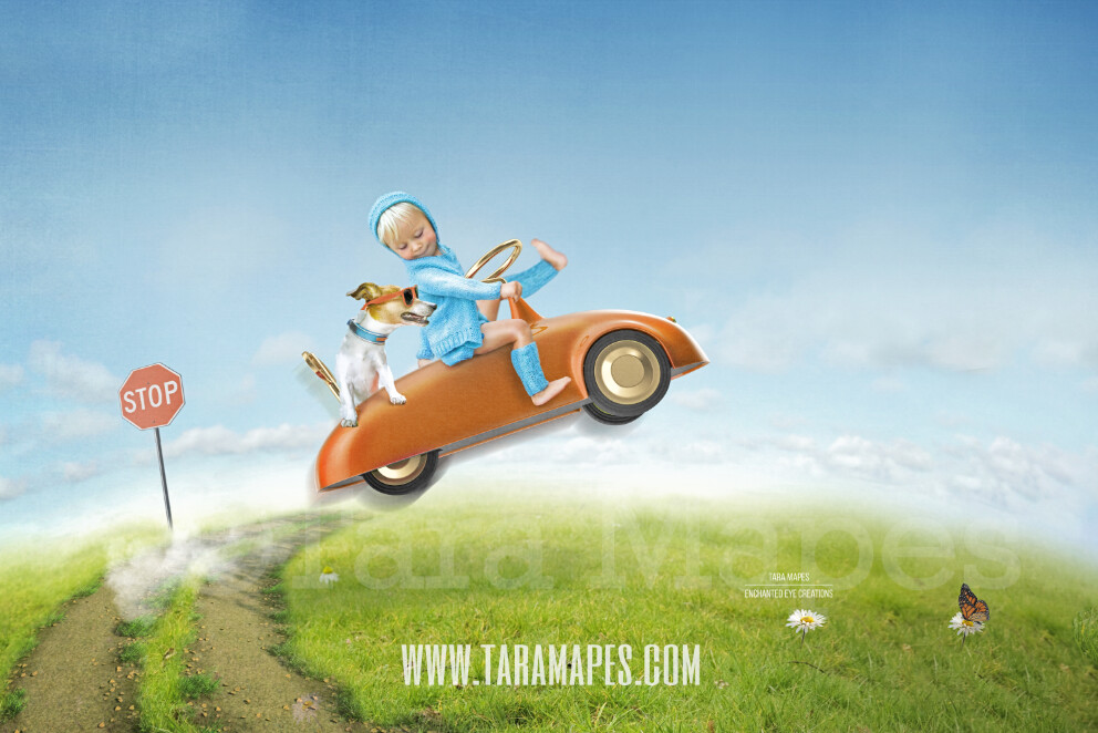 Vintage Speedster Cartoon Look Background - Whimsical Illustrated Look - Vintage Car over Hill- Digital Background by Tara Mapes
