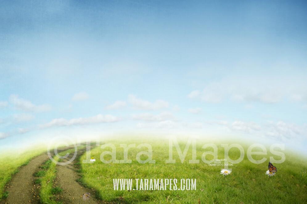 Vintage Hill - Spring Scene- Hill with Blue Sky Digital Background Backdrop