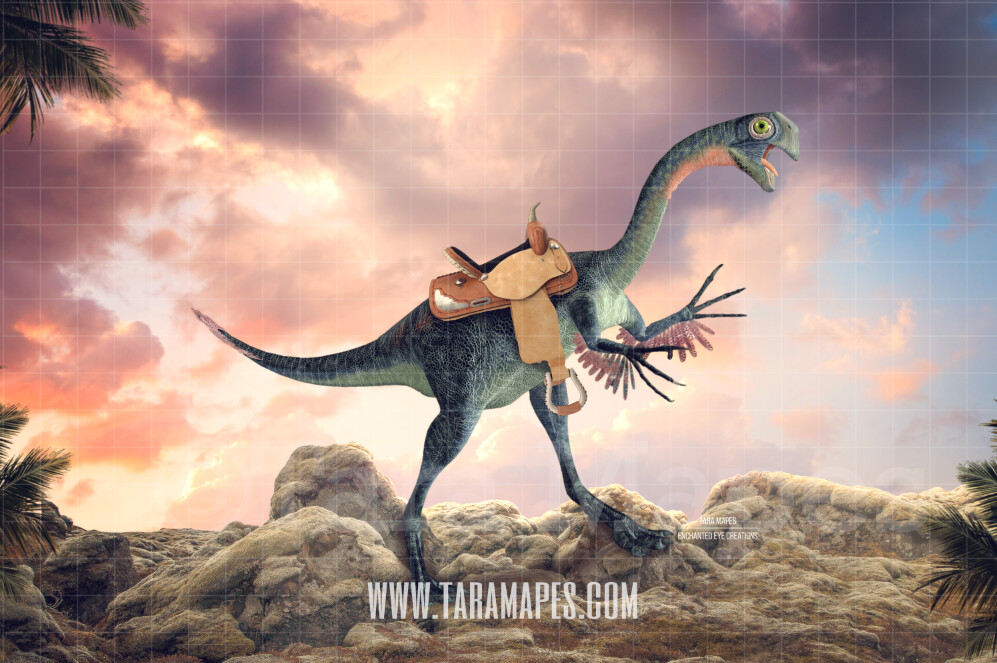 Funny Dinosaur with Saddle - Dinosaur on Rocks Digital Background by Tara Mapes