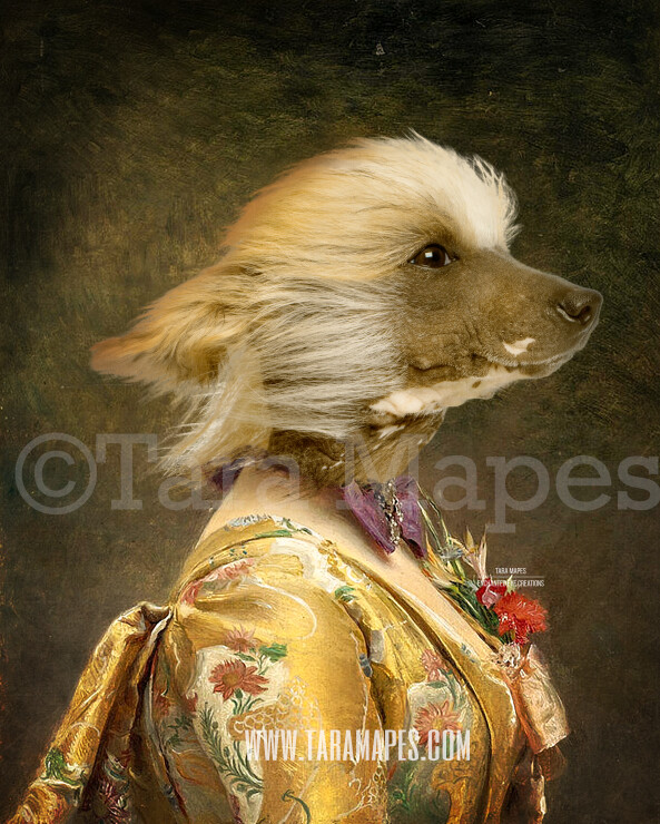 Pet Portrait Female Body PSD Template - Pet Painting Portrait Body 2- Layered PSD  Digital Background Backdrop