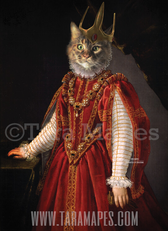 Royal Pet Portrait QUEEN Body PSD Template- Pet Painting Portrait Body 1 - Layered PSD  Digital Background Backdrop
