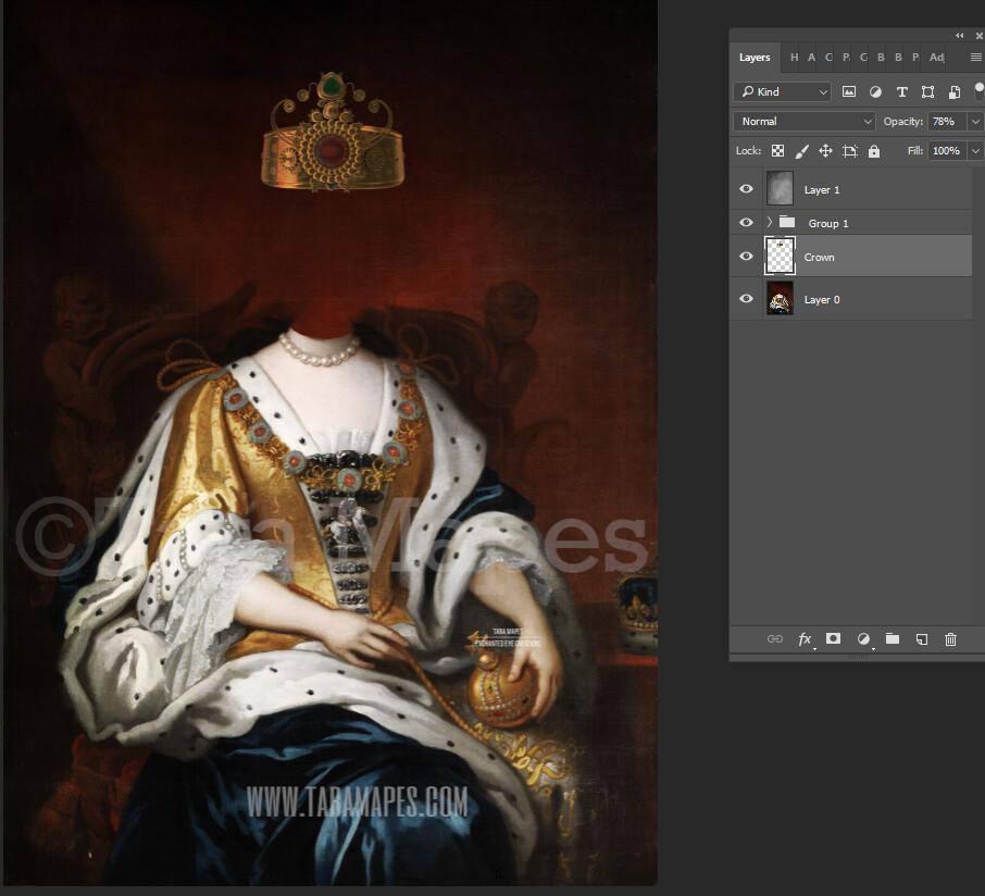 Royal Pet Portrait QUEEN Body PSD Template- Pet Painting Portrait Body 8 - Layered PSD  Digital Background Backdrop