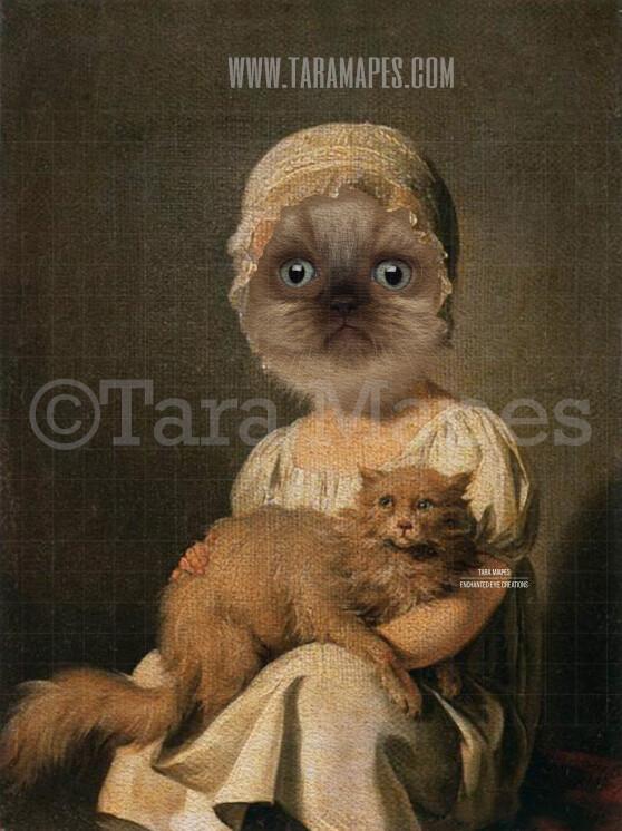 Child Pet Portrait Girl Body PSD Template- Pet Painting Portrait Body 2 - Layered PSD  Digital Background Backdrop