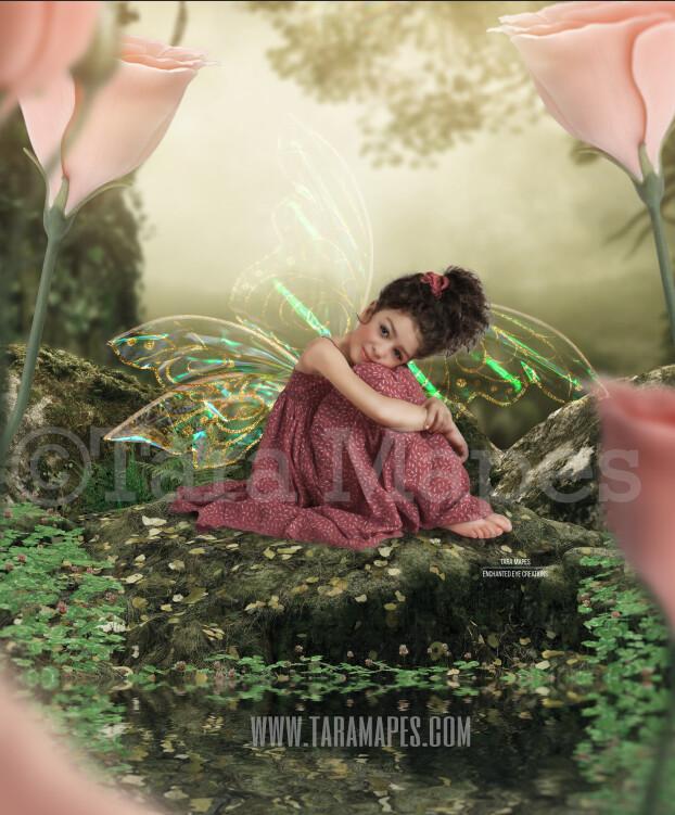 Fairy Rock in Forest Digital Background / Backdrop