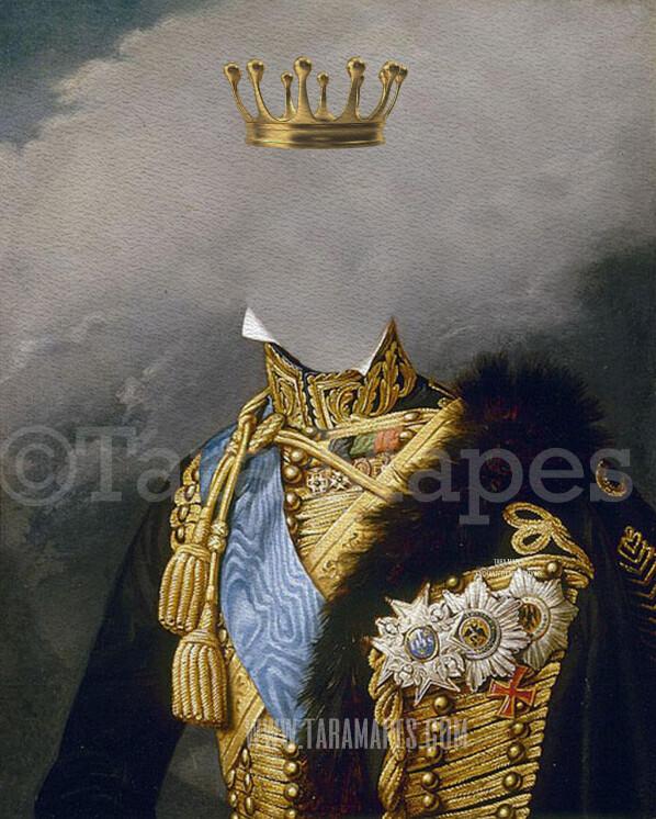 Royal Pet Portrait KING Body PSD Template- Pet Painting Portrait Body 9 - Layered PSD  Digital Background Backdrop