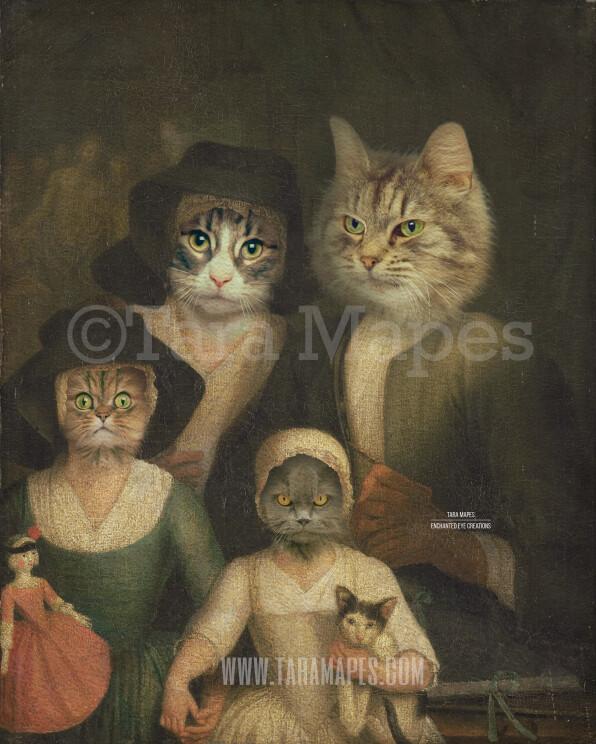 Pet Portrait PSD Template - Pet Painting Family GROUP Portrait 1  - Layered PSD  Digital Background Backdrop
