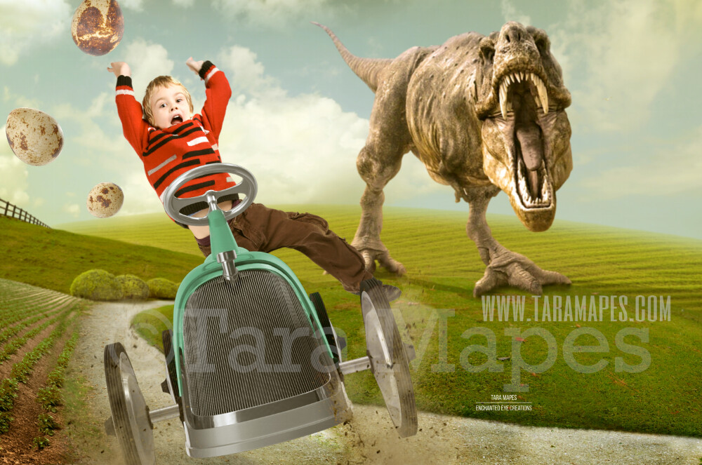 Dinosaur T-Rex Chasing Vintage Car on Road - Funny Digital Background - LAYERED PSD by Tara Mapes