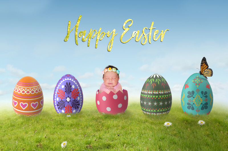 Easter Egg Baby - Eggs on a Hill - Digital Background LAYERED PSD - Newborn Baby Easter Egg