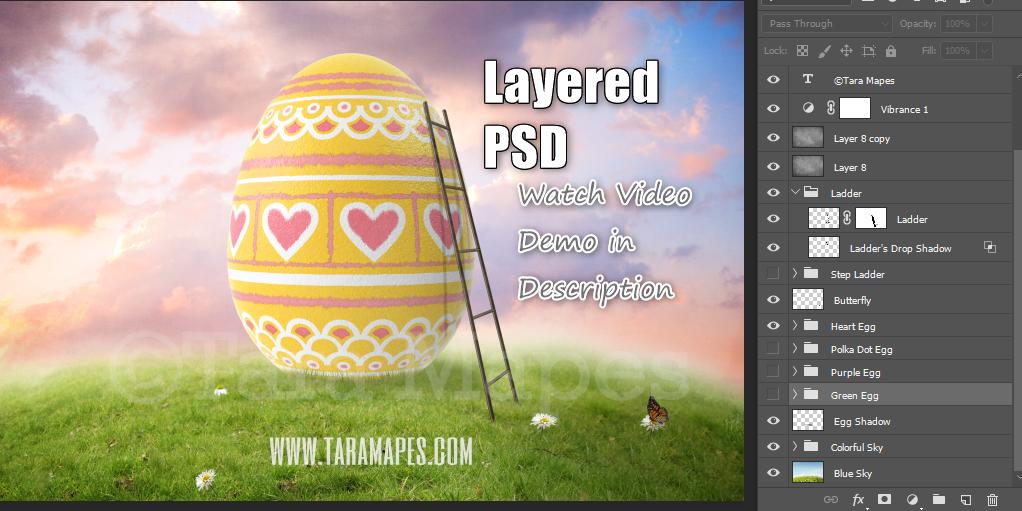 Painting a Big Easter Egg- Big Egg on a Hill - Digital Background LAYERED PSD - Easter Digital Backgrounds