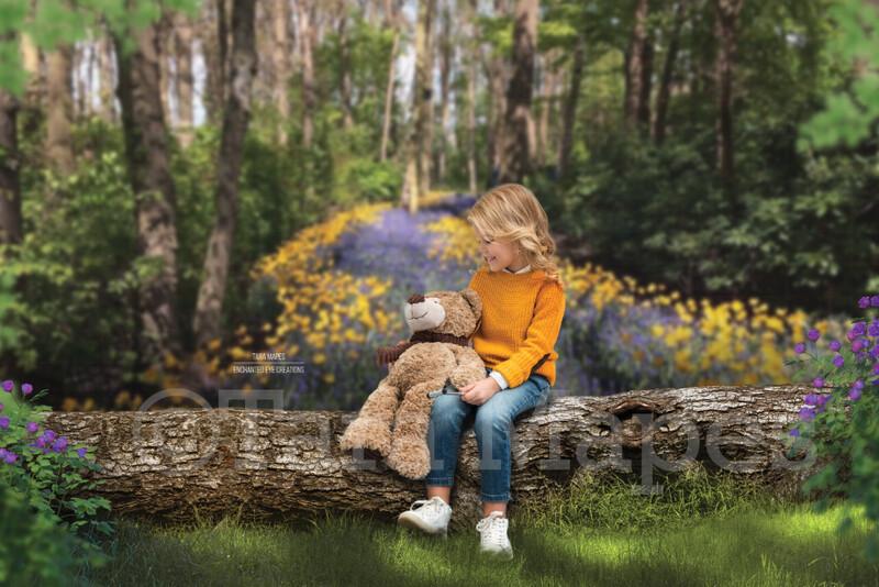 Easter Spring Log - Spring Background - Creamy Flowers in Forest- Log in Forest Digital Background / Backdrop