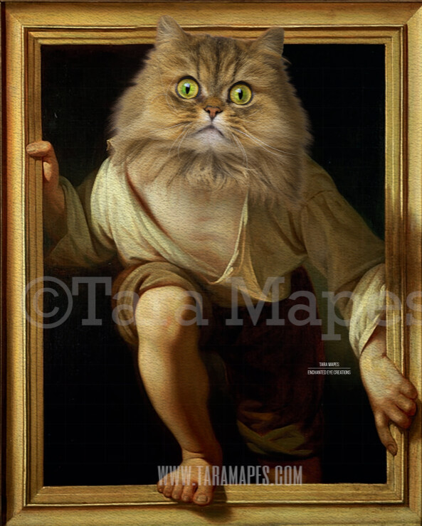 Pet Portrait PSD Template - Pet Painting Portrait Body 32 - Layered PSD Digital Background Backdrop