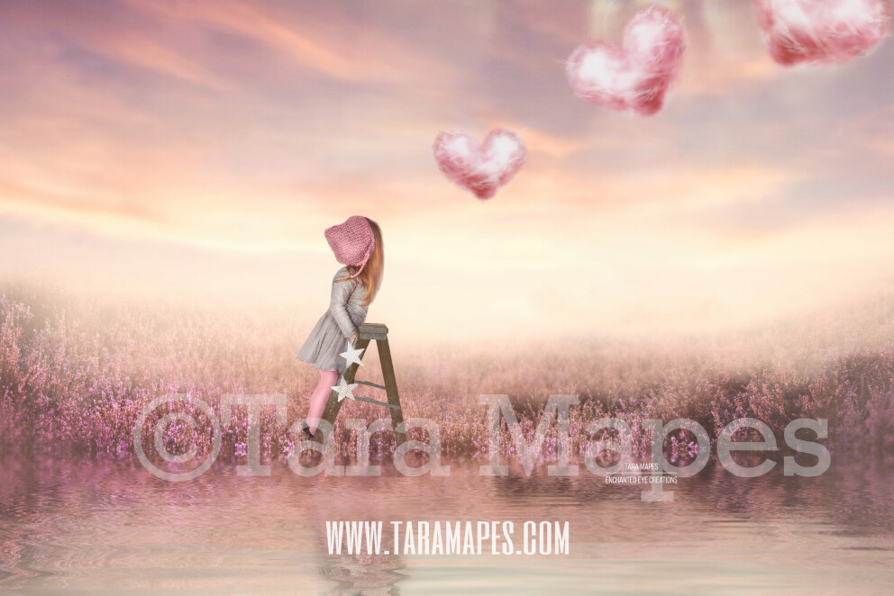 Floating Hearts - Cloud Hearts in Soft Field - Whimsical Digital Background LAYERED PSD - Tara Mapes