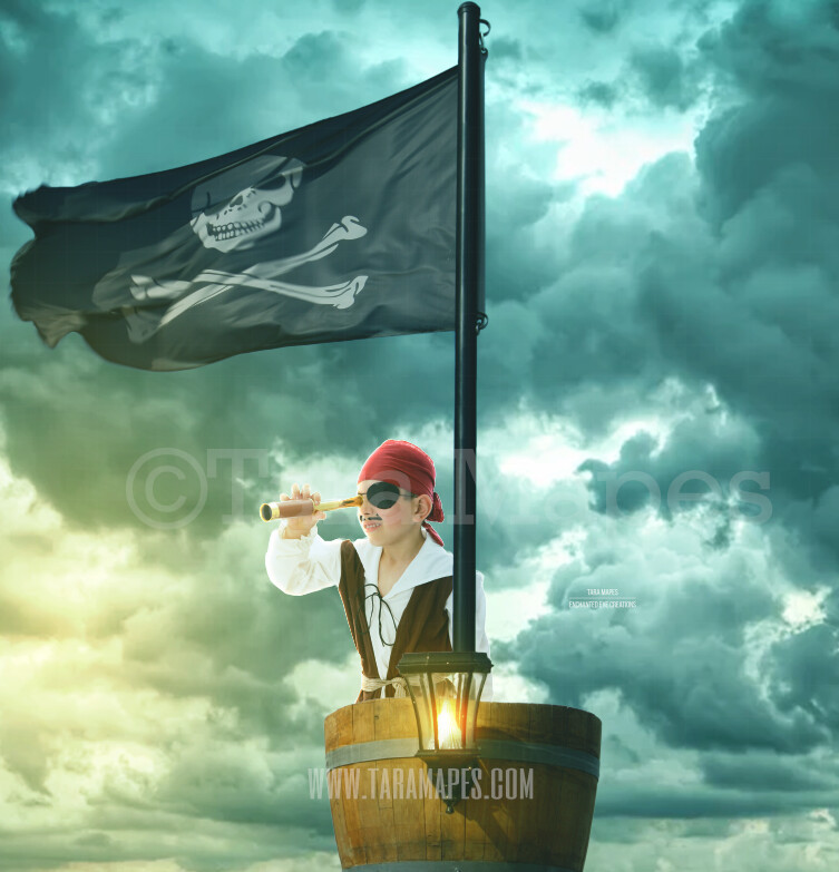 Pirate Ship Crows Nest Layered PSD Digital Background