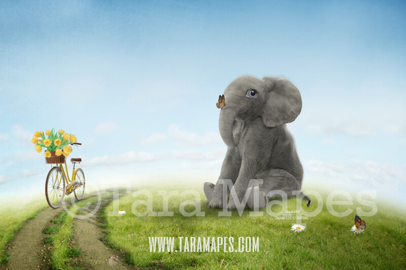 Baby Elephant on a Hill - Spring Vintage Whimsical Digital Background
